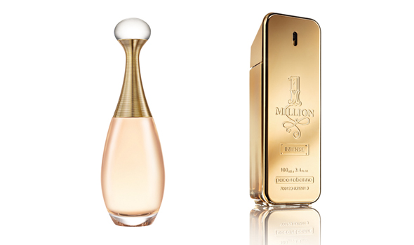 J'Adore Voile de Parfum (Dior) et One Million Intense (Paco Rabanne)