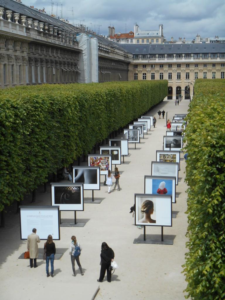 l'exposition, dans le jardin du Palais Royal